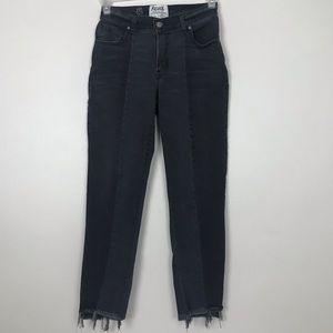 Revice Black High Rise Raw Hem Ankle Jeans 26